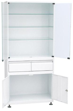 Шкаф 2-ух створчатый стекло/металл ШМС-2-Р-2 с регулируемыми опорами с 2-мя выдв. ящиками