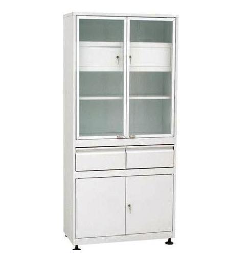Шкаф 2-ух створчатый стекло/металл ШМС-2-Т-А-Р-2 с трейзером в алюм. раме с рег. опор. с выдв.ящ.(2)