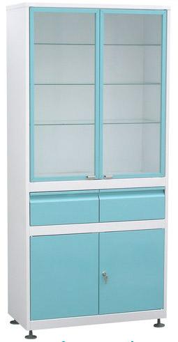 Шкаф 2-ух ств. стекло/металл ШМС-2-Р-А-2-Ц с рег. опор. в алюм.раме с выдв.ящ.(2) светло-зел. фасад