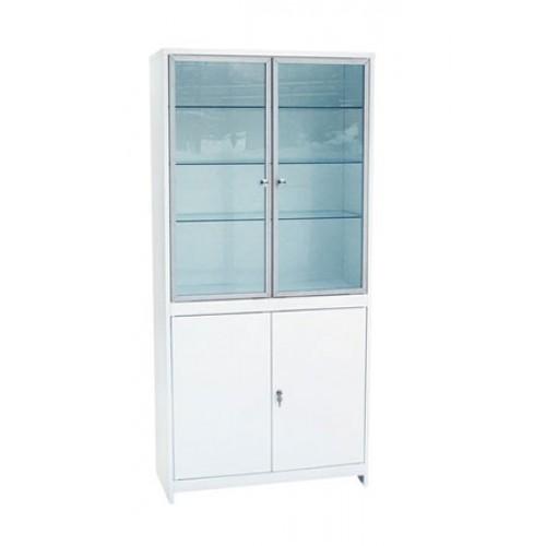 Шкаф 2-ух створчатый ШМС-2-А стекло/металл в алюминиевой раме