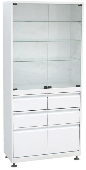 Шкаф 2-ух створчатый стекло/металл ШМС-2-Р-4/2 с регулируемыми опорами с выдвижным ящиком(4/2)