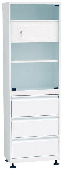 Шкаф 1-но створчатый стекло/металл ШМС-1-Т-Р-3 с трейзером с регулируемыми опорами с 3-мя ящиками