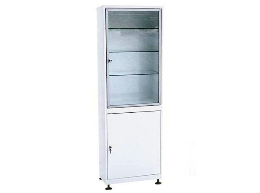 Шкаф 1-но створчатый  ШМС-1-А-Р стекло/металл в алюминиевой раме с регулируемыми опорами
