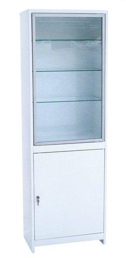 Шкаф 1-но створчатый  ШМС-1-А стекло/металл в алюминиевой раме