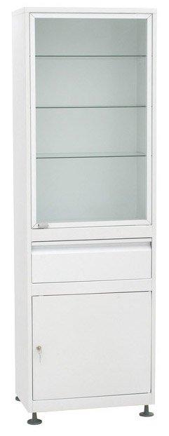 Шкаф 1-но створчатый  ШМС-1-А-Р-1 стекло/металл в алюминиевой раме с рег. опорами с выдв. ящиком