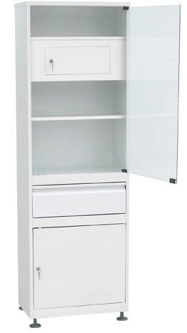 Шкаф 1-но створчатый  ШМС-1-Т-Р-1 стекло/металл с трейзером с рег. опор. с выдв. ящ.
