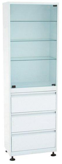 Шкаф 1-но створчатый стекло/металл ШМС-1-Р-3  с регулируемыми опорами с ящиками (3)