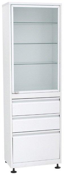 Шкаф 1-но ств. стекло/металл ШМС-1-Р-А-2/1 с рег. опорами в алюм. раме с ящиками (2/1)
